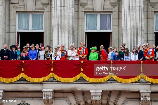 stand on the balcony during the Trooping the Colour this year marking the Queen's official 90th birthday at The Mall on June 11 2016 in London...