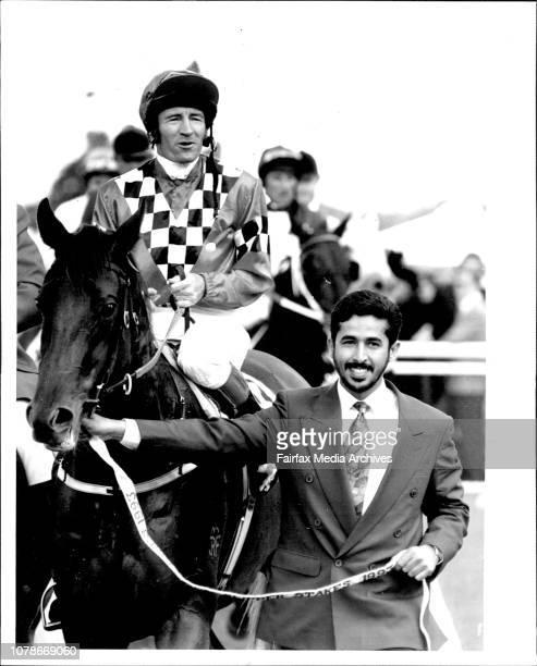 Shiekh Rashid, Bin Hamden, Al-Nahyan and D. L. Freedman in the Stand at end of Race.Mick Dittman and owner Shiekh Rashid Hamdan bring Bing Marscay...