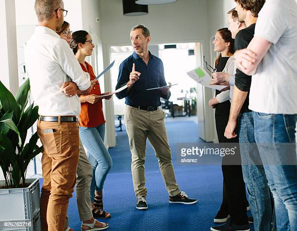 Stand up meeting of entrepreneurs at a start up
