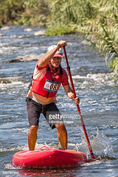 Stand Up Paddle boarders . The 1st annual LA River Boat Race held on August 30, 2014 on a course along a stretch of the river along the Glendale...
