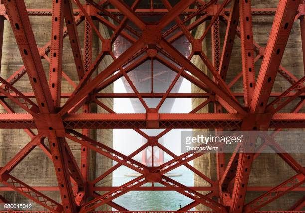 stand up paddle surfer under the golden gate bridge ( sup ) - suspension bridge stock pictures, royalty-free photos & images