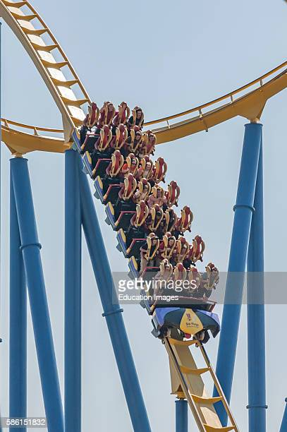 A stand up roller coaster named Chang at the Six Flags Kentucky Kingdom amusement park in Louisville Kentucky USA