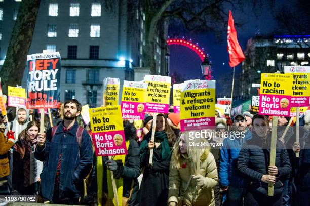 Stand Up to Racism hold a protest outside Downing Street called Not My Prime Minister on December 13 2019 in London England The day after British...