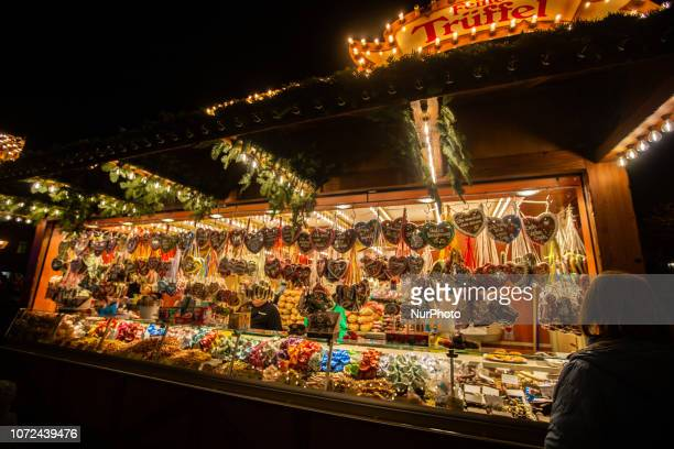 A stand with a lot of ginger bread hearts Christmas Market in Erlangen Bavaria Germany