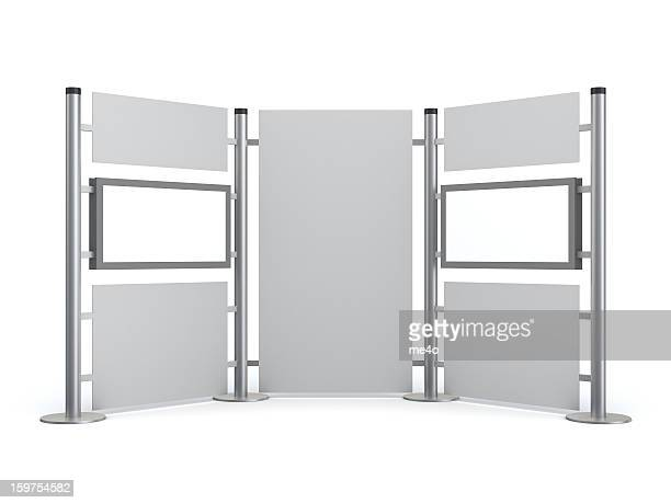 3d stand with blank video lcd displays - tradeshow stock pictures, royalty-free photos & images