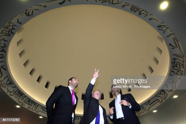 London Mayor Boris Johnson meets worshippers as he visits Europes biggest mosque the Baitul Futuh Mosque in Morden Surrey to hear how Muslims are...