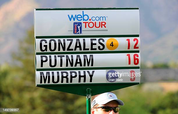 A standard bearer is seen with players scores during the third round of the Utah Championship Presented by Utah Sports Commission at Willow Creek...
