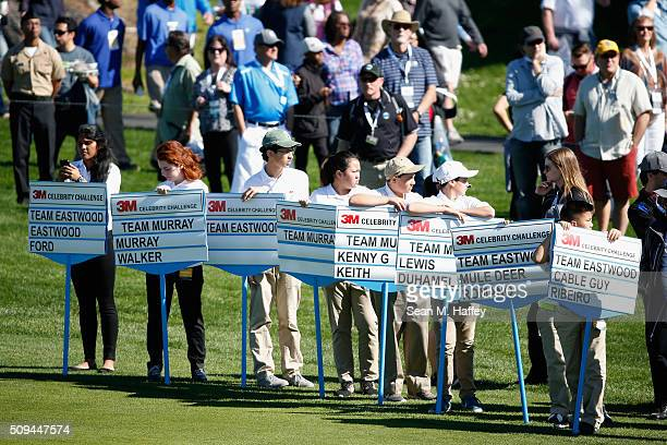 Standard bearers stand on the 17th fairway during the 3M Celebrity Challenge prior to the ATT Pebble Beach National ProAm at Pebble Beach Golf Links...