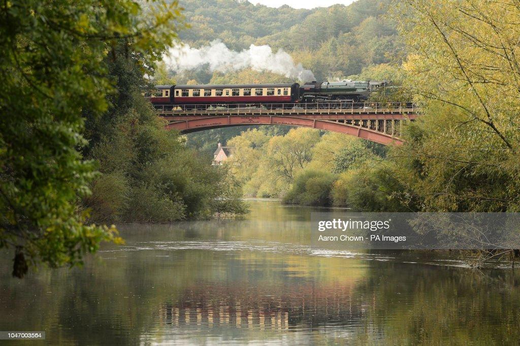 Standard Class 7 70000 Britannia steam train travels across