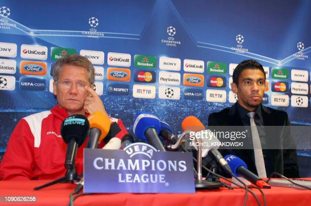 Standard coach Laszlo Boloni and player Igor De Camargo give a press conference on September 15 in Liege Standard will play against Arsenal on on...