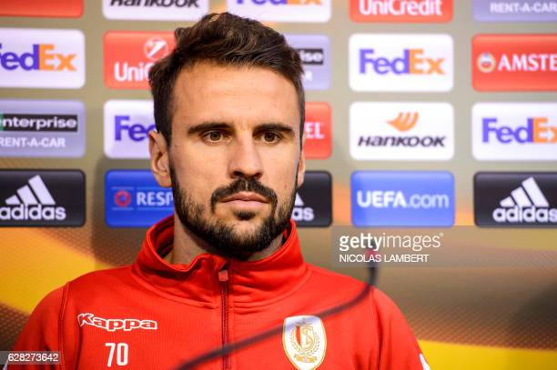 Standard de Liege's Portuguese forward Orlando Sa attends a press conference on December 7, 2016 in Liege on the eve of the club's group G Europa...