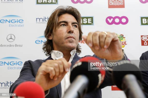 Standard Liege's new coach Ricardo Sa Pinto holds a press conference in Liege on June 12 2017 / AFP PHOTO / Belga / THIERRY ROGE / Belgium OUT