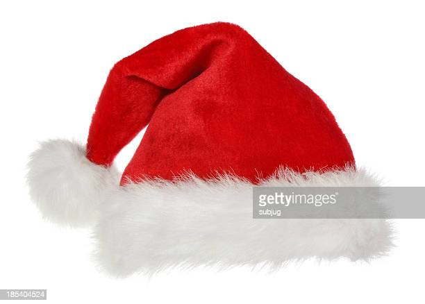 A standard Santa Claus hat on a white background