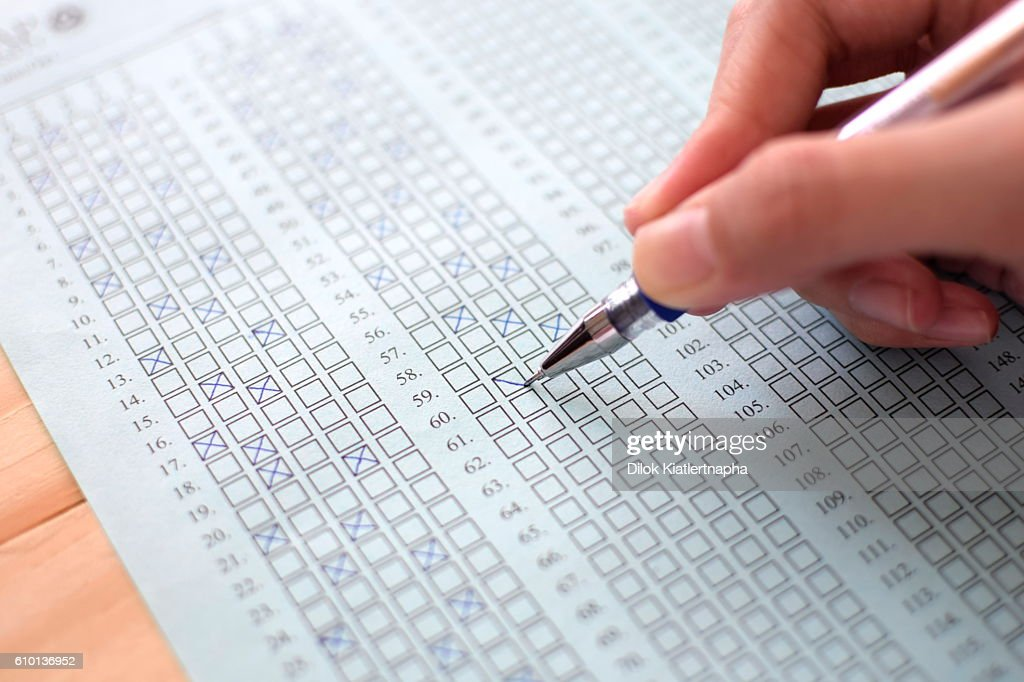 Standard Test Form Selective Focus On Answer Sheet Stock Photo