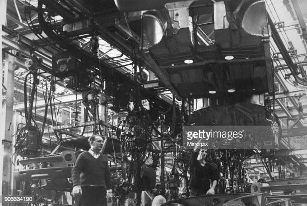 Standard Triumph assembly facility in Speke Liverpool 23rd February 1968 Our picture shows bodies of the Triumph 1300 range being assembled on the...
