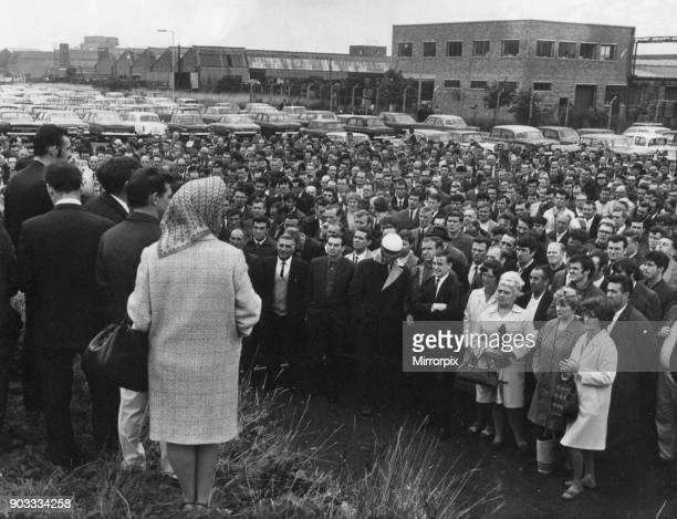 Standard Triumph workers meet outside the Speke factory Liverpool Merseyside 21st October 1969