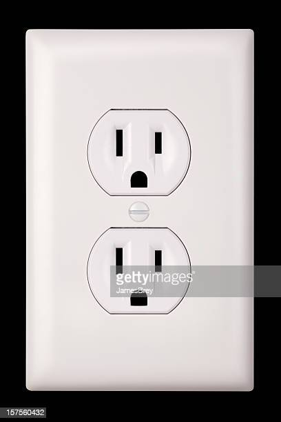standard two plug, three prong grounded united states electrical outlet - electrical outlet stock pictures, royalty-free photos & images