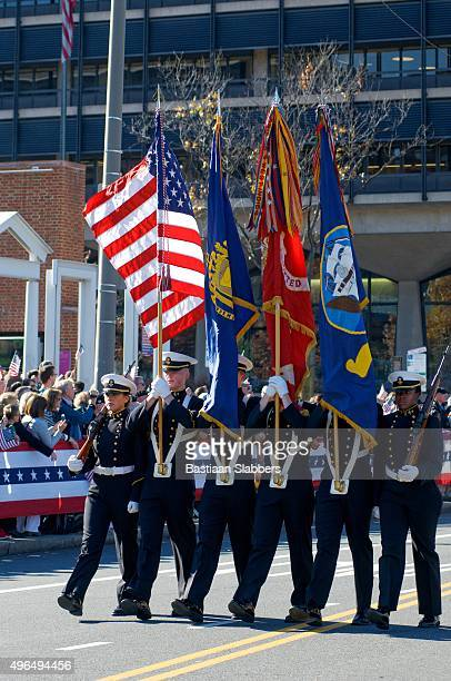 standard-bearers at veteran's day parade - honor guard stock pictures, royalty-free photos & images