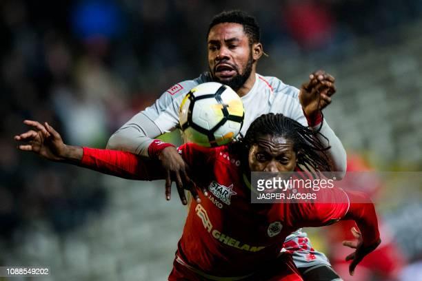 Standard's Christian Luyindama Nekadio and Mechelen's Igor de Camargo fight for the ball during a soccer match between Royal Antwerp FC and Standard...