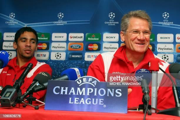 Standard's coach Laszlo Boloni and player Igor De Camargo attend a press conference of Belgian first league soccer team Standard de Liege on November...