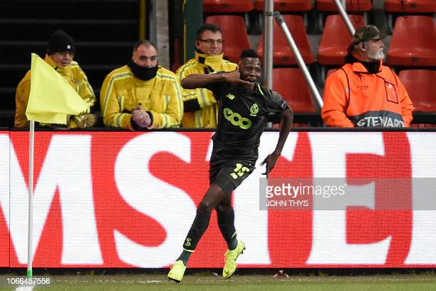 Standard's forward Moussa Djenepo celebrates after scoring during the UEFA Europa League group J football match between Standard Liege and Sevilla FC...