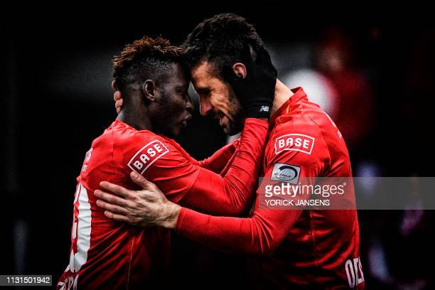 Standard's Moussa Djenepo and Standard's Orlando Sa celebrate during a soccer game between Standard de Liege and Waasland Beveren, Sunday 17 March...
