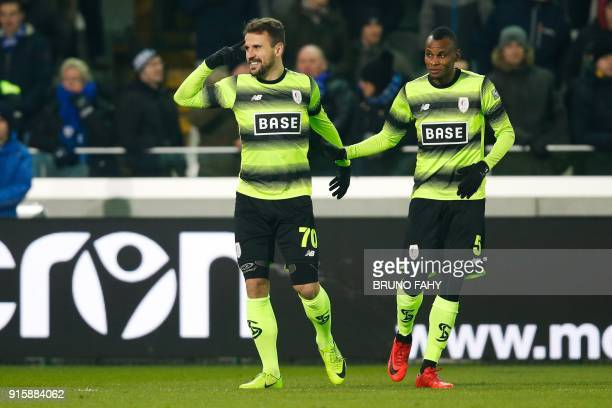 Standard's Orlando Sa celebrates after scoring the 01 goal at the fourth minute during a Club Brugge KV and Standard de Liege football match the...