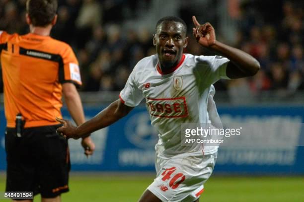 Standard's PaulJose Mpoku M'Poku Ebunge celebrates after scoring during the Belgian Jupiler Pro League match between KAS Eupen and Standard de Liege...