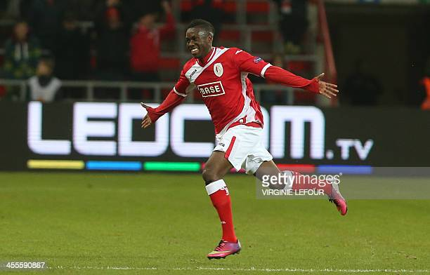 Standard's Yanis Mbombo celebrates after scoring during a soccer game between Belgian team Standard de Liege and Swedish IF Elfsborg in Liege, on...