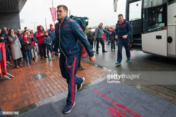 CJ Stander and Peter O'Mahony of Munster arrived at the stadium during the European Rugby Champions Cup Round 6 match between Munster Rugby and...