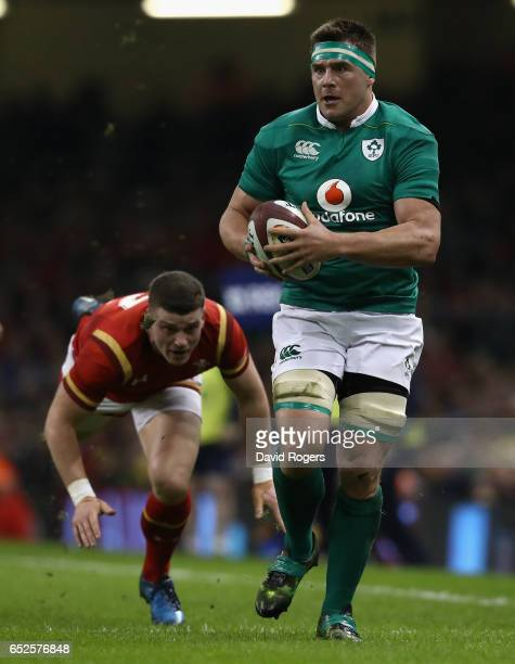 Stander of Ireland breaks clear of Scott Williams during the RBS Six Nations match between Wales v Ireland at the Principality Stadium on March 10...