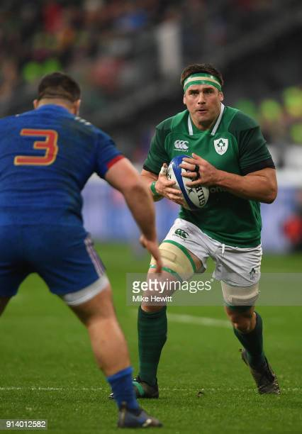 Stander of Ireland runs at Rabah Slimani of France during the NatWest Six Nations match between France and Ireland at Stade de France on February 3...