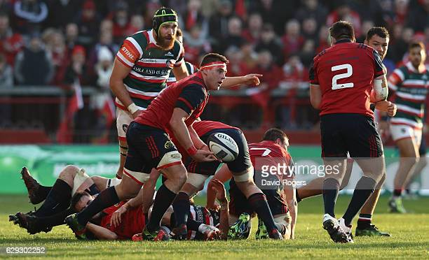 Stander of Munster runs with the ball during the European Champions Cup match between Munster and Leicester Tigers at Thomond Park on December 10...