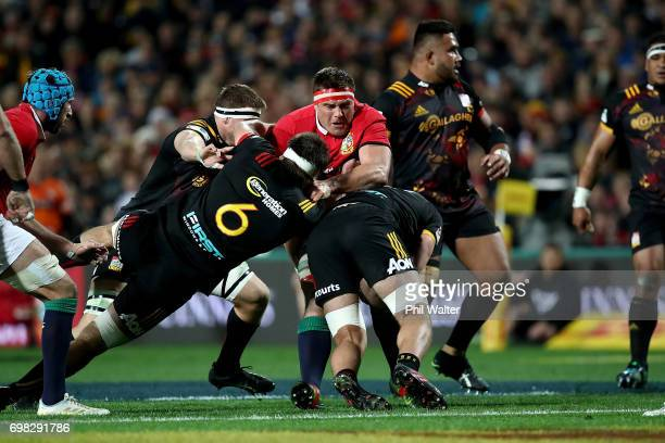 Stander of the Lions is tackled during the match between the Chiefs and the British Irish Lions at Waikato Stadium on June 20 2017 in Hamilton New...