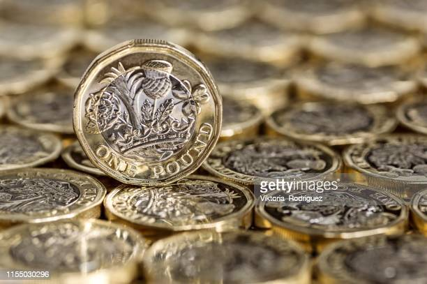 standing alone one pound coin - british currency stock pictures, royalty-free photos & images