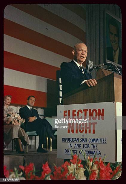 """Standing at a podium, Republican President Dwight """"Ike"""" Eisenhower making his 1956 re-election speech from his campaign headquarters in Washington,..."""