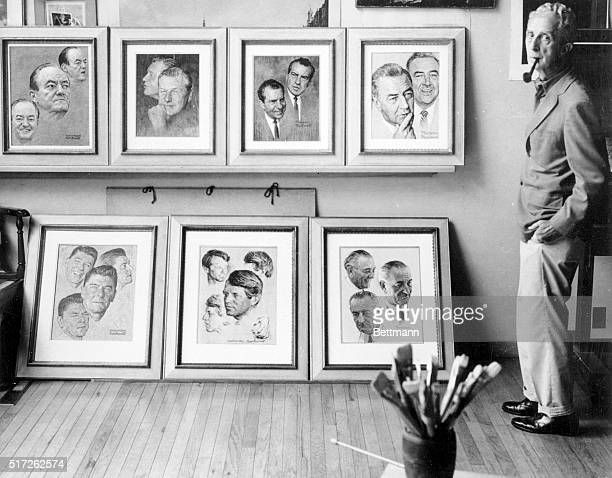 Standing beside some of his famous paintings recently, Norman Rockwell at 75 has abandoned the gruff grandfathers and little barefoot boys that made...