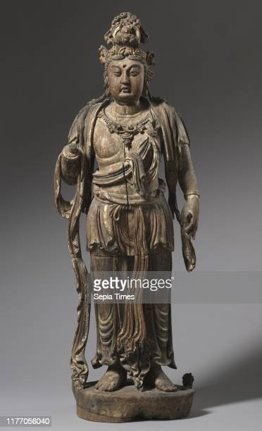 Standing Bodhisattva 1200s China Jin dynasty Wood with traces of polychromy and gold leaf overall 1461 x 572 cm