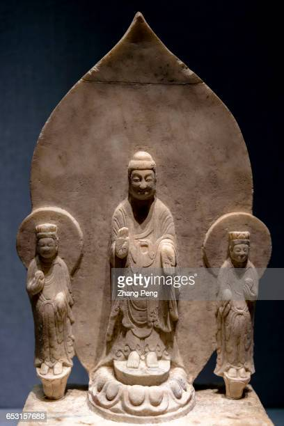 Standing Buddha Amitabha Flanked by Two Bodhisattvas from East Wei period during the Southern and Northern Dynasties preserved in Hebei Museum