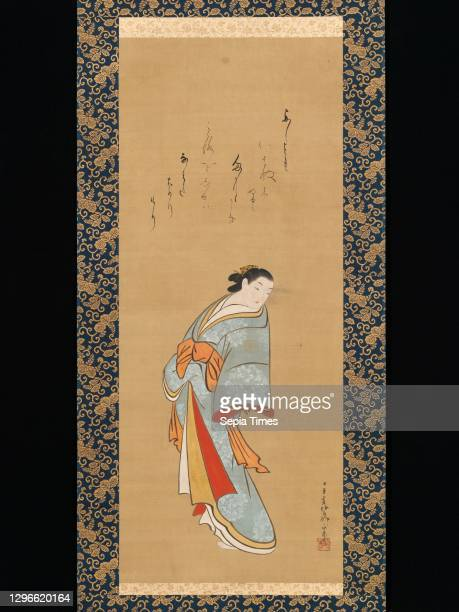 Standing Courtesan, Edo period , probably 1720s, Japan, Hanging scroll; ink and color on silk, Image: 39 7/16 × 16 1/8 in. , Paintings, Baiōken...
