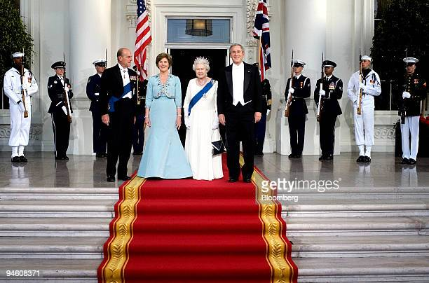 Standing from foreground left to right Prince Philip Duke of Edinburgh First Lady Laura Bush Britain's Queen Elizabeth II the UK head of state and US...