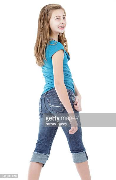 standing girl. - 13 years old girl in jeans stock photos and pictures