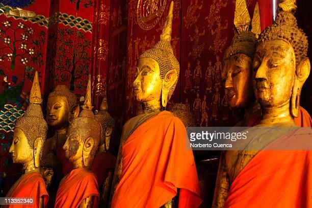 Standing golden Buddhas