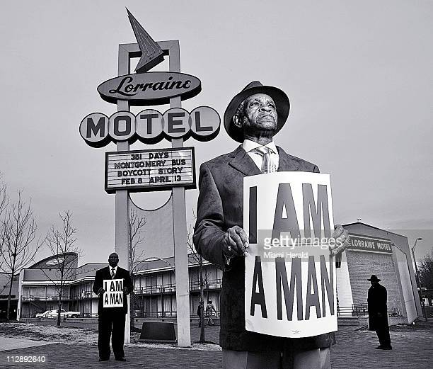 Standing in front of the former Lorraine Motel the site of Martin Luther King Jr assassination on April 4 Memphis sanitation workers Elmore...