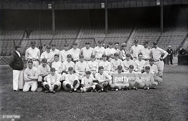 Standing left to right is: Doc Woods, Roy Carlyle, Walter Beall, Ben Paschal, Sam Jones, Earl Combs, Babe Ruth, Herb McQuade, Hank severd, Lou...