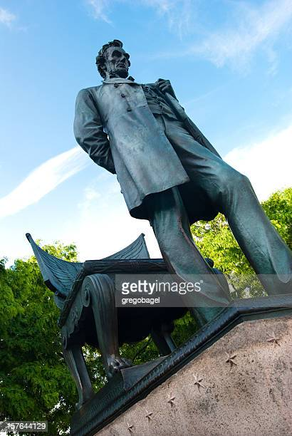 """""""standing lincoln"""" statue in chicago, il - cook county illinois stock photos and pictures"""