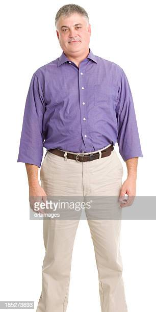 standing man - purple shirt stock photos and pictures