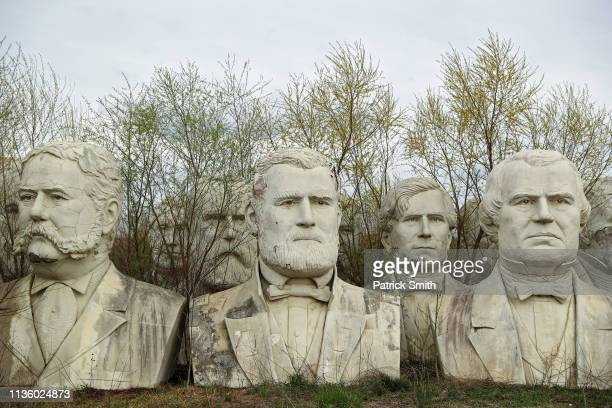 Standing nearly 20feethigh 43 US Presidential busts rest on April 9 2019 in Croaker Virginia From George Washington to George W Bush these remnants...