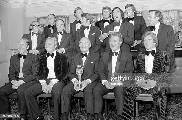 Nobby Stiles Ray Wilson George Cohen Jackie Charlton Roger Hunt Geoff Hurst Gordon Banks Martin Peters Les Cocker Sitting Bobby Charlton Bobby Moore...