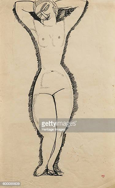 Standing Nude with Raised Arms 1911 Private Collection Artist Modigliani Amedeo